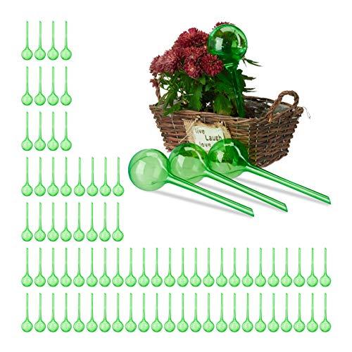 Relaxdays 80 x Bewässerungskugeln Dosierte Bewässerung 2 Wochen Versenkbar Topfpflanzen Kunststoff Bewässerungshilfe grün