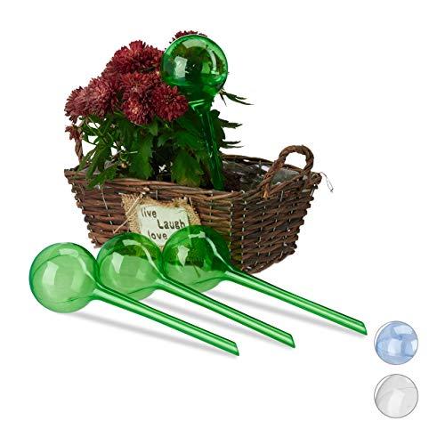 Relaxdays Bewässerungskugeln 4er Set Dosierte Bewässerung 2 Wochen Versenkbar Topfpflanzen Deko Kunststoff Grün PVC Standard