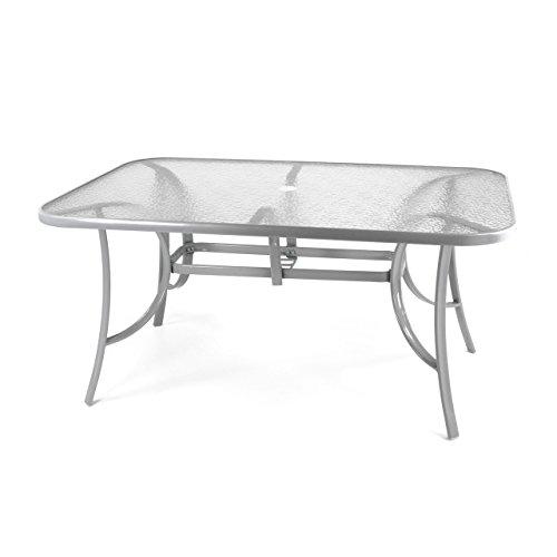 Nexos Gartentisch Esstisch Terrassentisch Glastisch Glasplatte klar – silber-grau - 150 cm Stahl mit Schirmloch