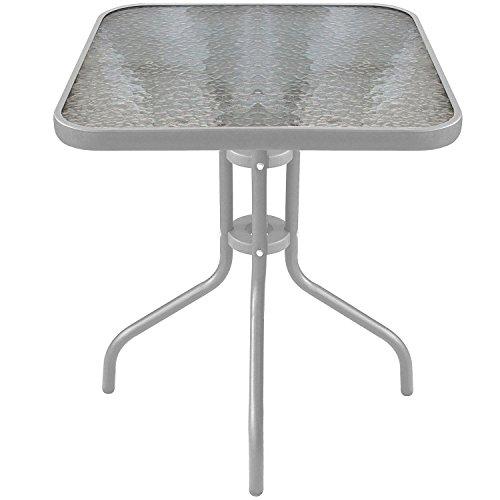Wohaga Bistrotisch Balkontisch Glastisch 60x60cm Beistelltisch Gartentisch mit Glasplatte - Silber