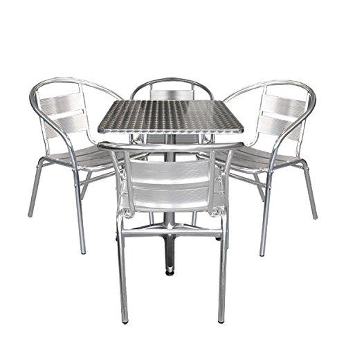 Multistore 2002 5tlg Aluminium Bistromöbel-Set Bistrotisch Aluminium Tischplatte in Schleifoptik 60x60cm Niveauausgleich  4X Alu Stapelstuhl Bistrostuhl