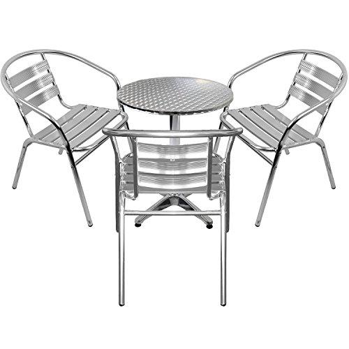 Wohaga 4er Set Gartenmöbel Gartengarnitur Aluminium Bistrogarnitur Bistrotisch Stehtisch Ø60cm Tischplatte Schleifoptik  3X stapelbare Bistrostühle - Silber