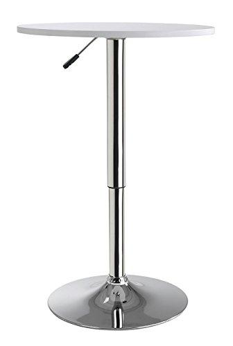 Home4You Stehtisch Bistrotisch Beistelltisch Torsten 2  Weiß  Metall  höhenverstellbar  Ø 60 cm