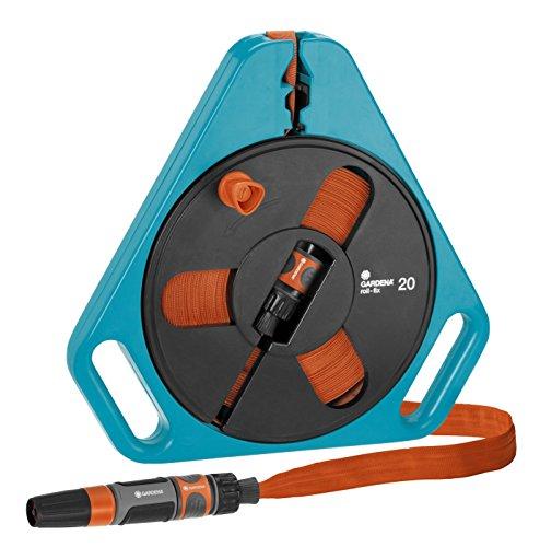GARDENA Classic roll-fix Flachschlauch 20 mit Kassette Platzsparende Schlauchkassette mit Wasserschlauch Ø 12 mm in Kassette Sicherheitsautomatik inkl Spritze mit Anschlussgeräten 757-20