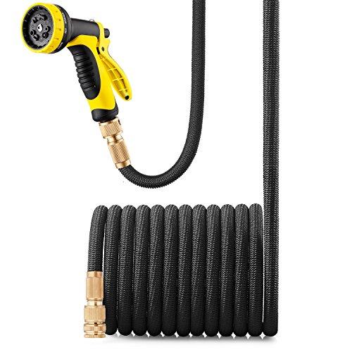 GroHoze Erweiterbar Flexible Solide Messing Verbinder Gartenschlauch mit 10 Funktion Spritzpistole - 50FT15M Schwarz