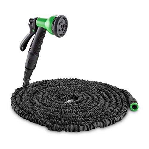 Waldbeck Water Wizard 15 • Flexibler Gartenschlauch • Wasserschlauch • Flexschlauch • Bewässerung • 8 Funktionen • dehnbar bis 15m • Sprühbrause • selbstaufrollend • Wasserhahn Adapter • schwarz