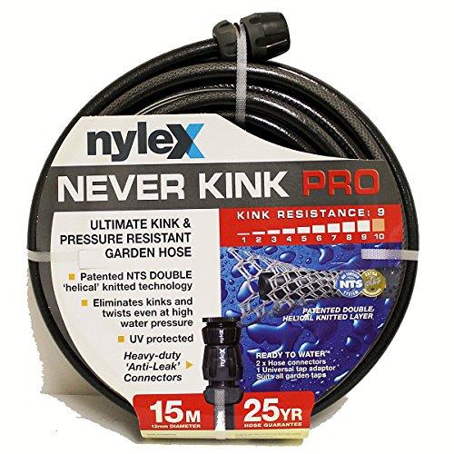 nyleX Never Kink PRO HeavyDuty Gartenschlauch Schlauch Wasserschlauch Schwarz 15 m 12 Zoll 12mm mit original nyleX Verbindungsstücken - kein Knicken oder Verdrehen
