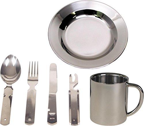 normani Camping Edelstahl Geschirrset Besteck  Teller  Tasse Farbe Silver