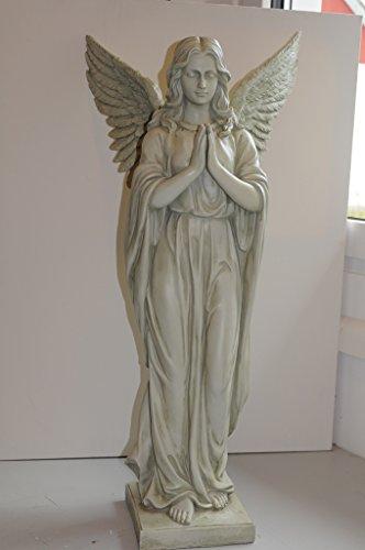 Riesiger In und Outdoor Engel betend auf Sockel 92 cm Angel Figur Gartenfigur