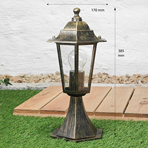 Sockel-Weg-LeuchteParis in antik  E27 bis 60W 230V IP44  Sockellampe Außenleuchte Außenlampe Wege Stand Pfeiler Beleuchtung