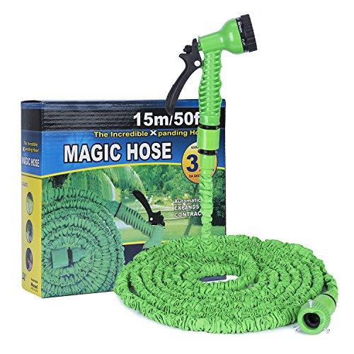 Hakkin Gartenschlauch 7 in 1 Spritzpistole mit Dehnbarer Schlauch Garten Wasserschlauch Flexible Magic Schlauch Einstellbaren Schlauch Düsen 7 Muster Hochdruckreiniger