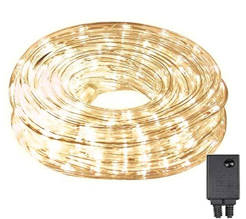 LED Lichterschlauch 10m 240er LED Lichter mit 8 Modi Innen und Außenbereich Lauflichter für Saal Garten Weihnachten Hochzeit Party - Warmweiß Lichtschläuche