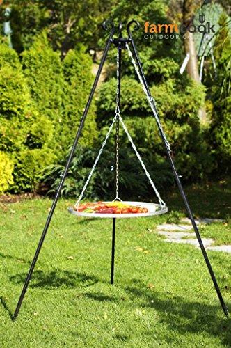 Farmcook Schwenkgrill - Dreibein Grill mit Edelstahl Rost in 3 Größen Dreibein 180 cm - Rost 70 cm