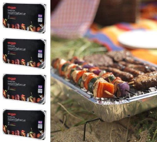 4 X Größe der Familie Bar-Be-Quick-Quick Grill-Packs Jede Packung Feeds zu 10 Personen beste Weltmarktführer Einweg-Grill