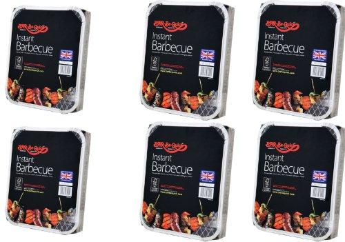 6 X Bar-Be-Quick-Schnell Grill-Packs Jede Packung Feeds zu 4 Personen-Welt beste Marke führenden Einweg-Grill