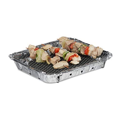 Relaxdays Einweggrill gebrauchsfertig 2 Standfüße 500g Grillkohle enthalten instant BBQ lange Brenndauer silber