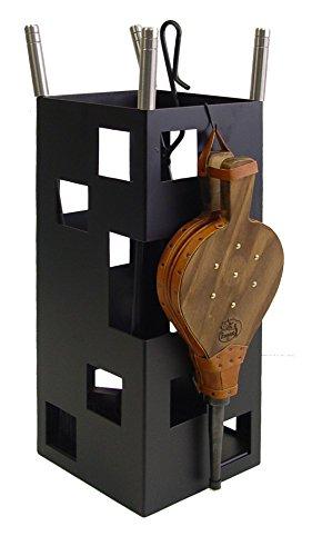 Imex El Zorro 10045 Kamin-Zubehörset quadratisches Design rostfrei inklusive Blasebalg 50 x 20 x 20 cm Schwarz