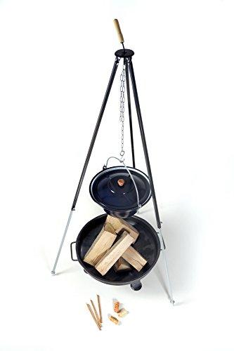 acerto Ungarischer Gulaschkessel 22 Liter  Dreibein-Gestell 180cm  Feuerschale 80cm