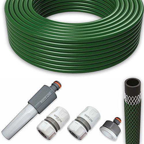 Gartenschlauch Wasserschlauch Schlauch Set 12 Zoll 50m mit Armaturen Grün