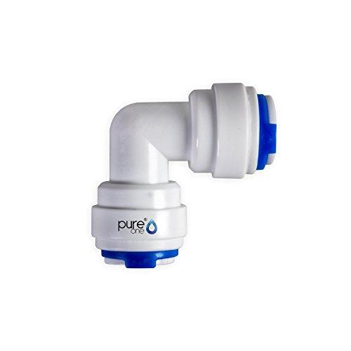 PureOne QF-04C Quick-Fitting - Schnellverbinder 38 auf 38 Zoll Ausführung Ellenbogen  L-Form Schlauch-Zubehör für Umkehr-Osmose Wasser-Installationen oder Kühlschranksysteme