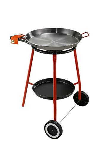 Kit für Paella Komplett-Set für die Küche im Freien besonders geeignet für die Zubereitung von Paella Das Kit enthält Gaskocher mit Gasversorgung LPG mit Zwei Brennern unabhängig Fuß aus Stahl lackiert mit drei Füßen Pfanne aus Eisen