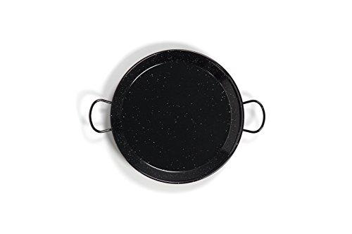 La Valenciana 10 cm emaillierter Edelstahl Pfanne aus Spanien Paella Schüssel Hocker schwarz 55 cm