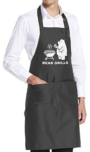 vanVerden Schürze Bear Grills Bären Abenteuer Survival Parodie inkl Geschenkkarte FarbeDark Grey Grau