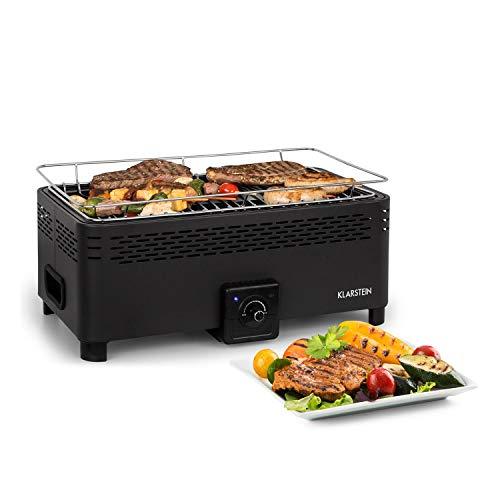 Klarstein Micro-Q 3131 Holzkohlegrill • tragbarer Grill • Camping-Grill • rechteckig • 42 x 23 cm Grillgitter • batteriebetrieben • Tragetasche • schwarz