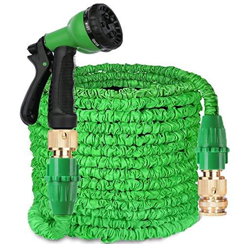 AIGUMI Gartenschlauch 150 m erweiterbarer Gartenschlauch magischer Wasserschlauch doppelter Latexkern mit Messingbeschlägen und Sprühdüse mit 8 Mustern grün