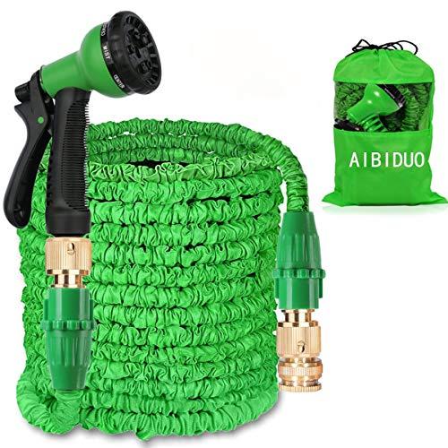 Aibiduo Dehnbarer Gartenschlauch 30 Meter Magischer Wasserschlauch doppelter Latexkern mit Beschlägen aus Massivmessing und Sprühdüse mit 8 Optionen grün