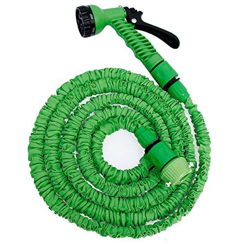 Eyepower Hochwertiger Gartenschlauch Flexibler Wasserschlauch Schlauch 25m-7m inkl 7fach Multifunktions Sprühkopf Grün