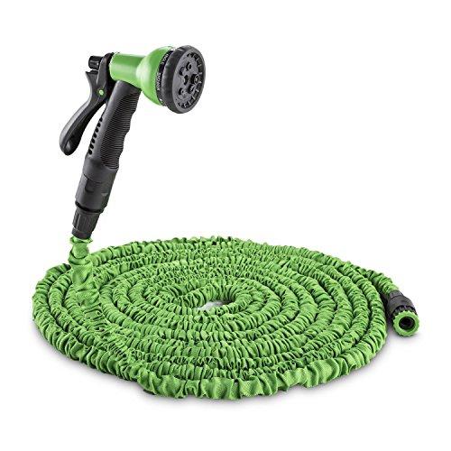 Waldbeck Water Wizard 22 • Flexibler Gartenschlauch • Wasserschlauch • Flexschlauch • Bewässerung • 8 Funktionen • dehnbar bis 225m • Sprühbrause • Wasserhahn Adapter • federleicht • grün