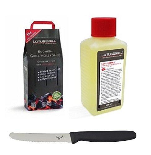LotusGrill Buchenholzkohle 25 kg Sack und LotusGrill Brennpaste 200 ml beides entwickelt für raucharmes Grillen mit dem LotusGrill inkl Edelwild-Allzweckmesser