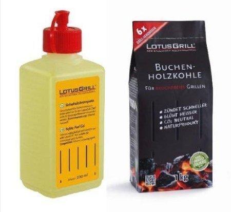 Set Lotus Grill - Lighter gel 200ml  Charcoal 1 Kg