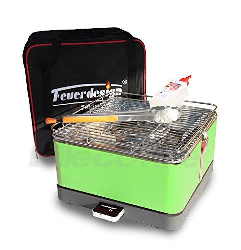 Feuerdesign Holzkohle Tischgrill TEIDE - Rauchfrei - v Grün im Spar Pack mit Grill-Zubehör