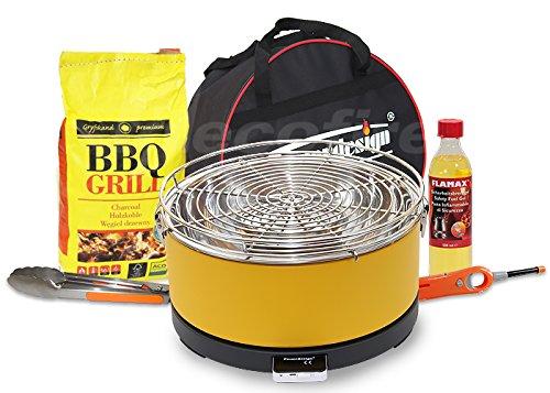 Feuerdesign Rauchfreier Holzkohle Tischgrill MAYON v Gelb im Super Pack mit viel Grill-Zubehör