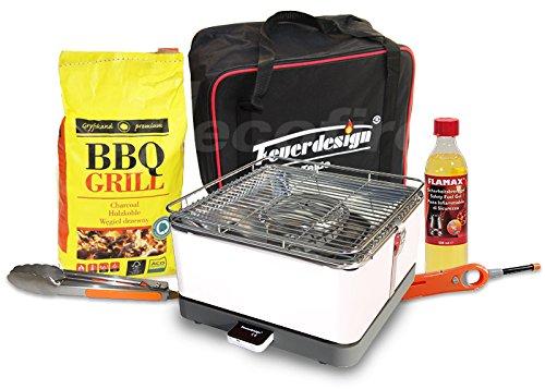 Feuerdesign Rauchfreier Holzkohle Tischgrill TEIDE v Cremeweiss im Super Pack mit viel Grill-Zubehör