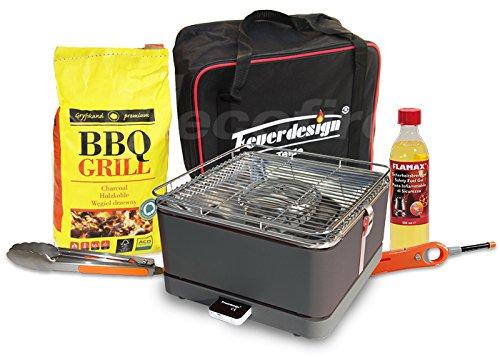 Feuerdesign Rauchfreier Holzkohle Tischgrill TEIDE v Grau im Super Pack mit viel Grill-Zubehör