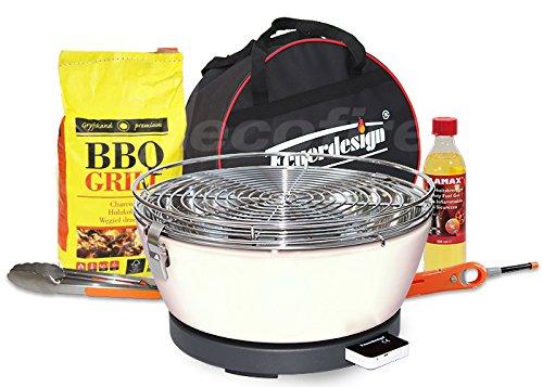 Feuerdesign Rauchfreier Holzkohle Tischgrill Vesuvio v Cremeweiss im Super Pack mit viel Grill-Zubehör