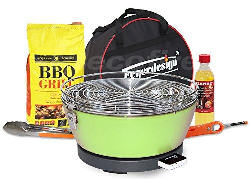 Feuerdesign Rauchfreier Holzkohle Tischgrill Vesuvio v Grün im Super Pack mit viel Grill-Zubehör