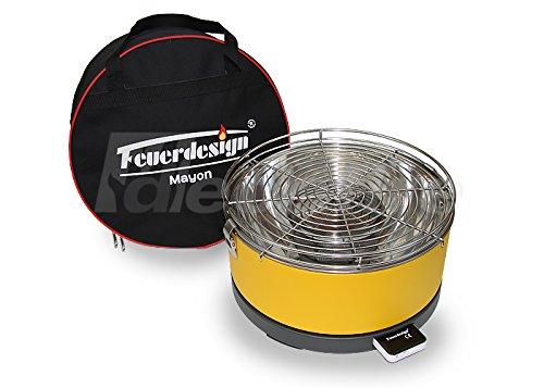 Feuerdesign Tischgrill MAYON für Holzkohle - Rauchfrei - v Gelb - mit Tasche und wiederaufladbaren Akku
