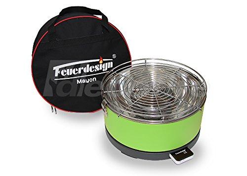 Tischgrill MAYON für Holzkohle - Rauchfrei - v Feuerdesign - Grün - mit Tasche und wiederaufladbaren Akku