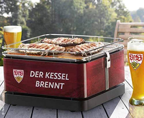 VfB Stuttgart Feuerdesign TEIDE Holzkohle-Tischgrill  wiederaufladbarer Lüfter-Motor für rauchfreien Grillspaß  Holzkohlegrill mit Grillzange  Tragetasche  offizielles Lizenzprodukt