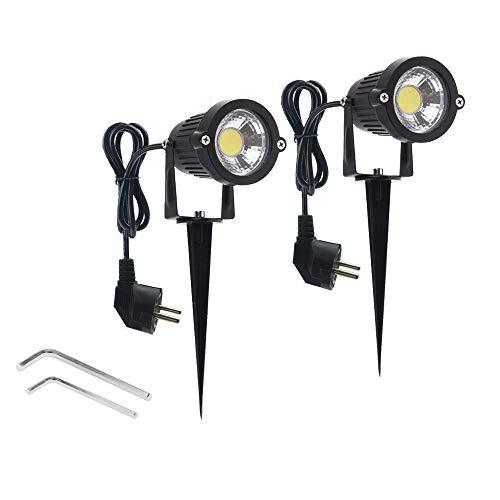 Wefond 2 Paket Outdoor Landschaft Beleuchtung 5 Watt COB Led-strahler für Garten Rasen Yard Pfad mit Spiked Ständer und Stecker Adapter Kaltes Weiß