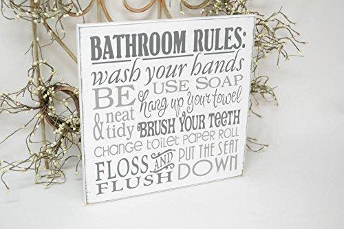 Monsety Holz Plaque Bathroom Rules Hände Waschen Flush Bürsten Sie die Zähne ändern WC-Papier Wand aufhängen Schild Home Decor