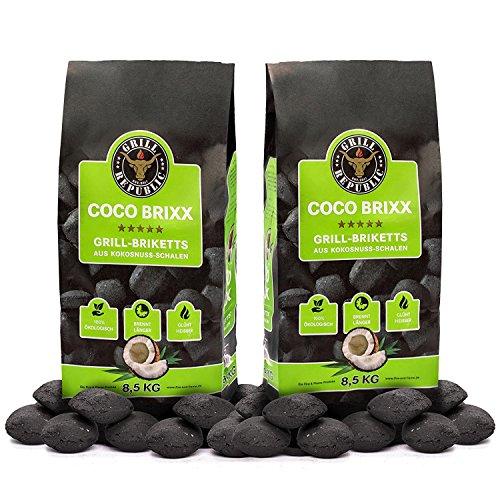 Grill Republic Kokos Briketts Grillbriketts Kokoskohlen für Den Kugel- und Standgrill  Nachhaltig Hoher Heizwert und 3X Längere Brenndauer  17kg