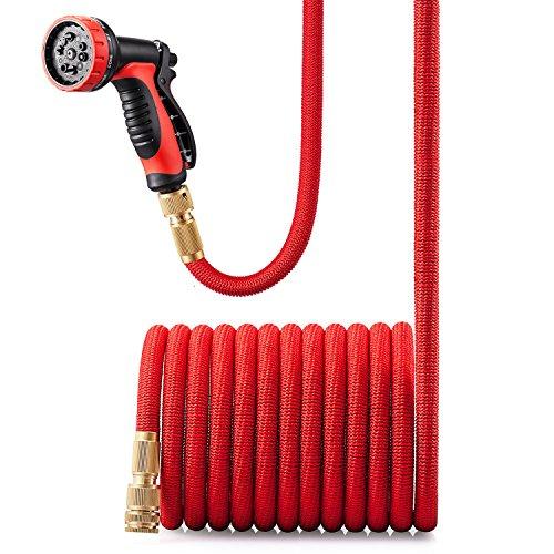 GroHoze Erweiterbar Flexible Solide Messing Verbinder Gartenschlauch mit 10 Funktion Spritzpistole - 50FT15M Rot