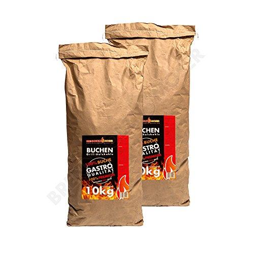 Holzkohle Buche für BBQ Grillkohle Extra groß 20kg Buchenholzkohle Gastro Qualität Nicht für Lotus Grill Geeignet - Stücke Sind zu groß Ideal für Gastronomie 2X 10kg Sack Versandkostenfrei