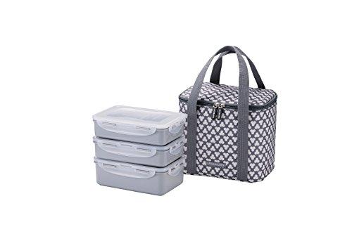 LOCK LOCK Picknick Box Set mit Transport-Tasche in Grau - 2er Lunchbox unterteilt  auslaufsicher - Vesperdosen stapelbar 2 Picknickboxen á 1 l