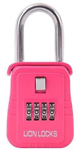 Lion Locks 1500 Key Storage Lock Box with Set Your Own Combination Pink by Lion Locks